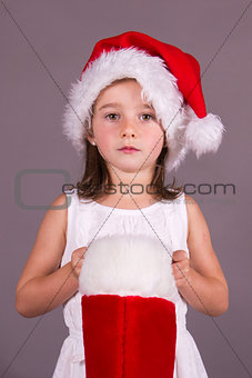Girl with Christmas stocking