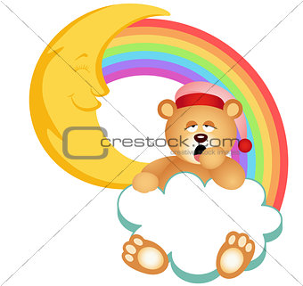 Teddy Bear Sleepy Cloud Rainbow