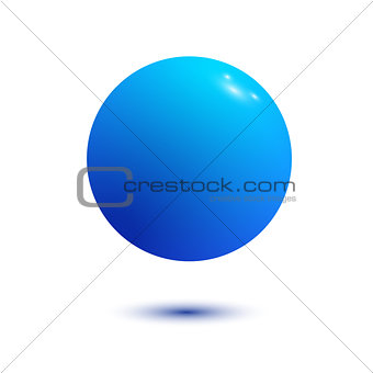 Blue Ball isolated on a White background with clipping path