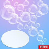 SPA aqua background with soap bubbles in pastel tones