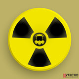Icon radiation symbol with gas mask.
