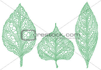 green leaf silhouettes, vector set