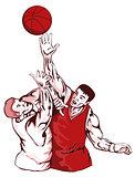 Basketball Players Rebound