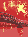 Bridge Fireworks Retro