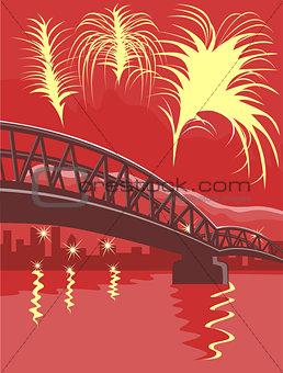 Bridge Fireworks Retro