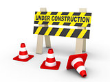 Under construction sign and cones