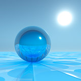 Blue Crystal Sphere on surreal horizon