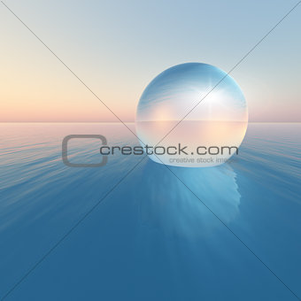 Crystal Sphere Floating Sunrise