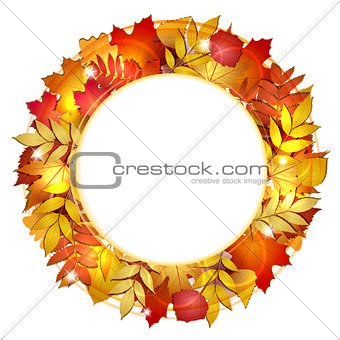 Autumn round banner with red leaves.