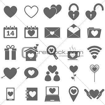 Love icons on white background