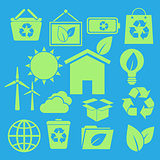 Set of ecology icons on blue background