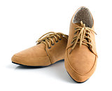 Casual brown leather unisex shoes