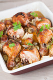 Roast chicken drumsticks with olives