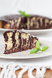 Zebra marble cake with chocolate glaze