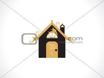 abstract golden floral home icon