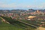 Small italian town on hills of Piedmont, Italy.