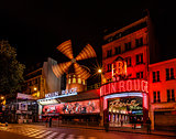 Cabaret Moulin Rouge at Night, Paris, France