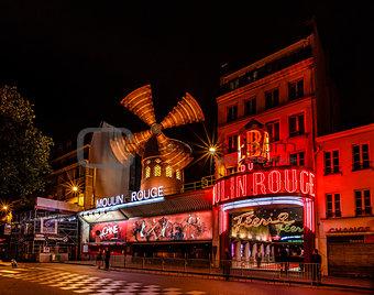 Cabaret Moulin Rouge at Night, Paris, France