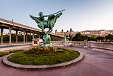 France Reborn Statue on Bir-Hakeim Bridge at Dawn, Paris, France