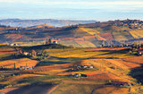 Hills and vineyards in autumn in Italy.