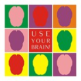 Use your brain colorful vector icon set. Thinking or  brainstorm symbol collection with motivation text