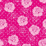 Seamless vector floral pattern with pink and roses on sweet candy pink background with white polka dots.