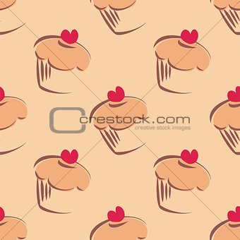 Seamless vector pattern or texture with big cupcakes, muffins, sweet cake and red heart on top