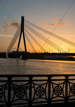 bridge in sunset - Riga
