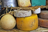 Mature cheese wheels on the stand.