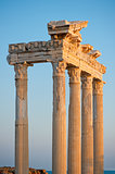 Colonnade of the ruins of the Temple of Apollo in Side. Turkey