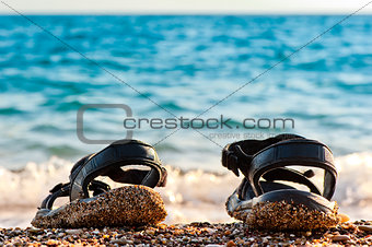 Beach shoes at the edge of the sea on the sandy beach.