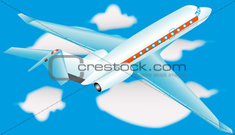Airplane in a sky with clouds