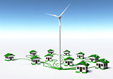 Wind generator supplys the houses