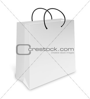 one classic white shopping bag, on a white background