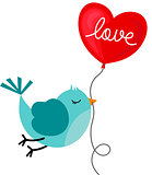 Bird holding love heart balloon