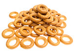 Many bagels on white background