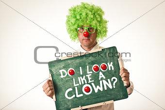 Clown with chalkboard