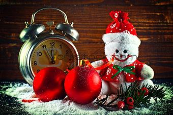 Christmas balls and wool snowman