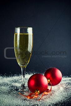Christmas Balls and glass of wine