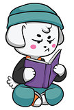 Grumpy Dog Reading a Book