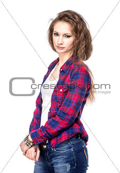 Attractive young woman in a checkered shirt
