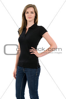 Blond woman modeling blank black polo shirt