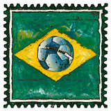 Brazilian flag with ball in grunge style