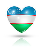 Love Uzbekistan, heart flag icon
