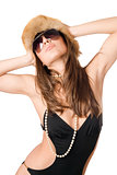 Attractive lady wearing swimsuit and fur-cap