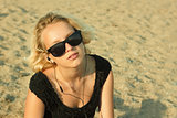 Teenage girl on the sandy beach