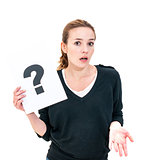 young woman with board question mark sign