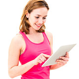young woman using tablet PC