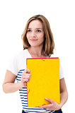 Young smiling woman with Folders