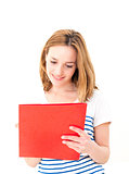 Young smiling woman reading Folders